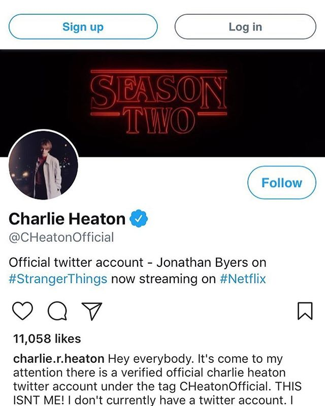 "Hey y'all.  Bummer that this kinda thing happens.  DO NOT FOLLOW the @charlie.r.heaton twitter account that you see in this picture.  Charlie has confirmed that twitter account is not him despite it saying ""official""."