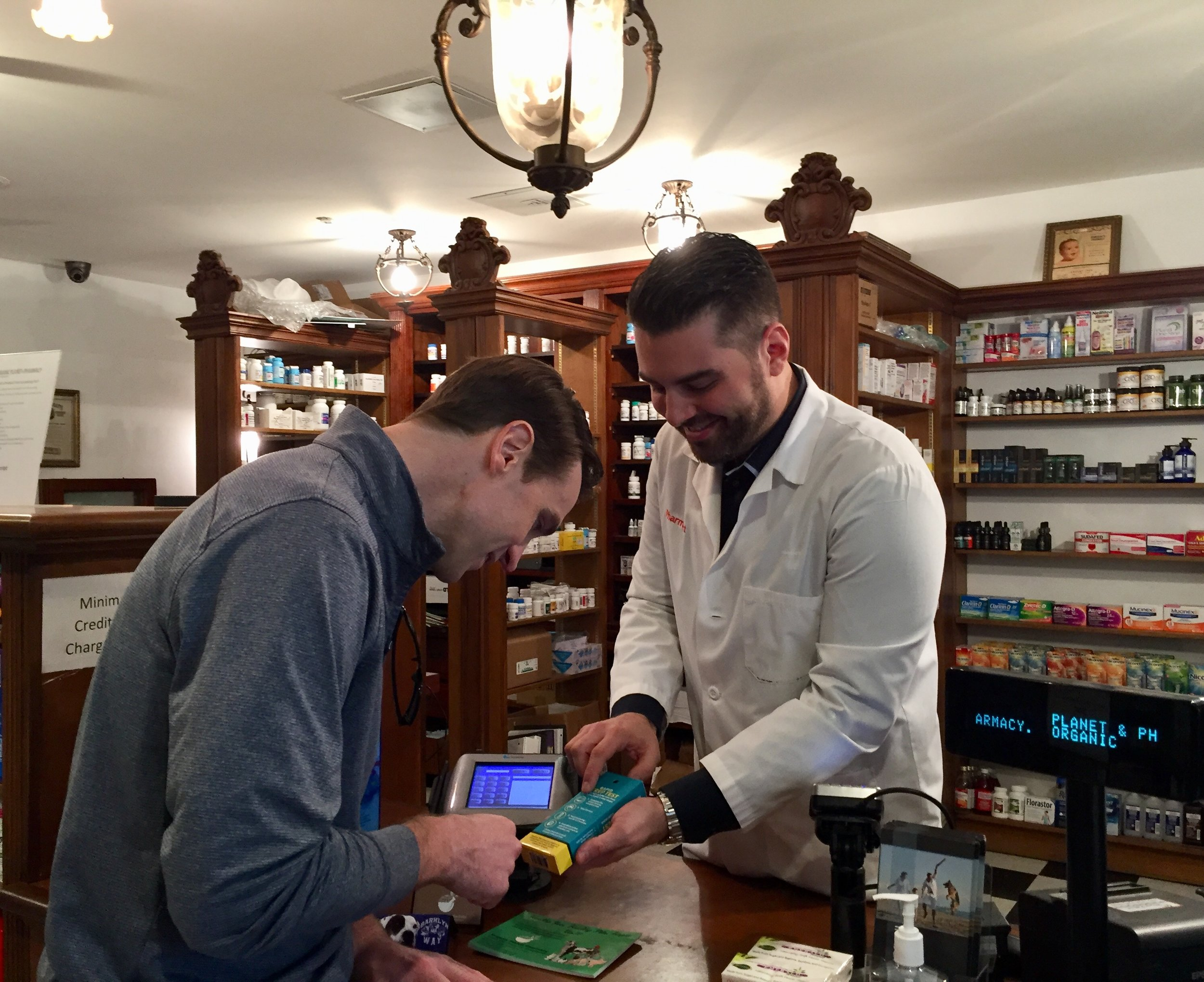 Our pharmacist Demetri counseling one of his patients on how to use a Rapid Strep Test. Our pharmacists always take the extra time to counsel each and every patient of their prescription and over the counter medications. We believe this aspect of our care is an integral part of our professional duties, which is often overlooked in today's busy hectic pharmacies.