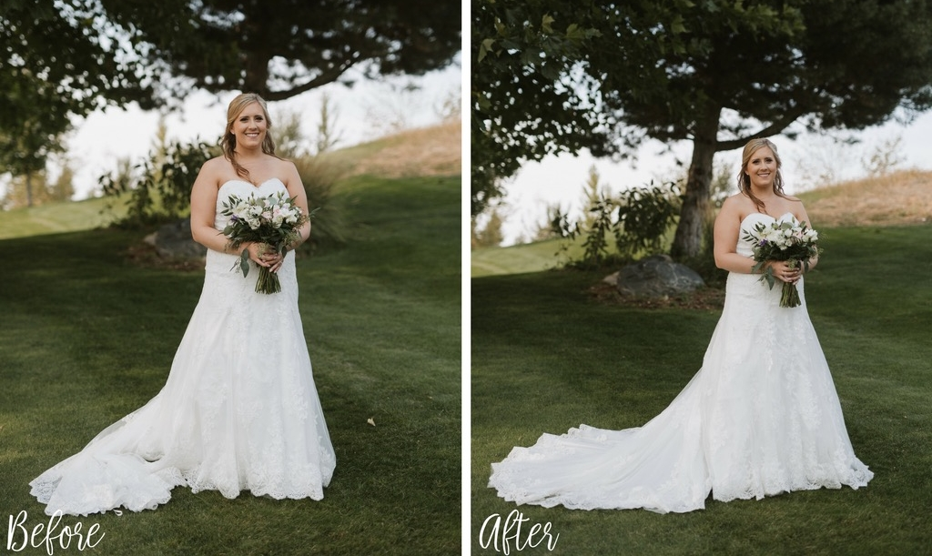 Dress placement can make or break a bridal portrait. A properly placed train and veil will showcase the shape of your gown beautifully and make you appear taller and enhance your natural body shape.  - N + D Photography