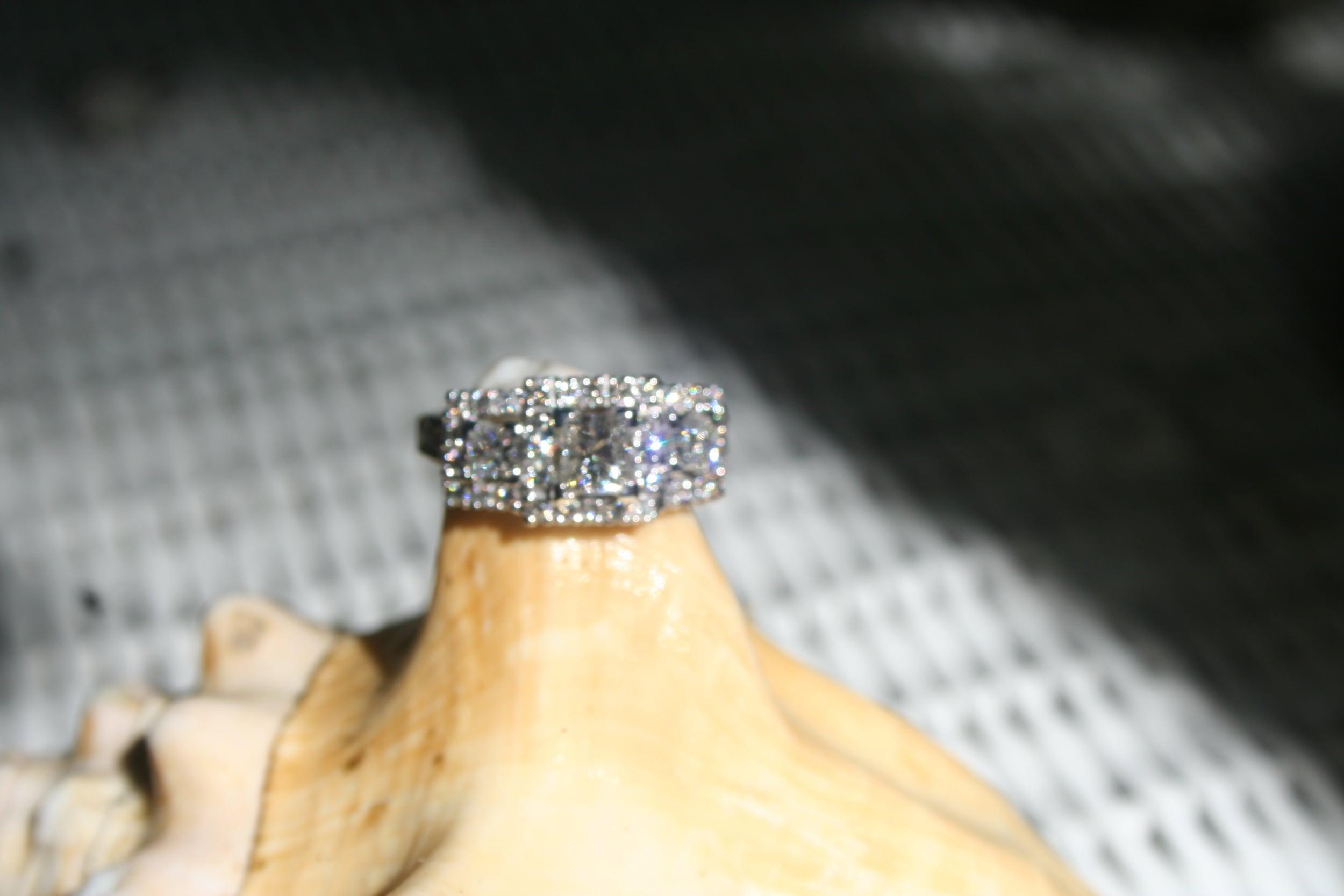 Three Stone Princess Engagement Ring Reset