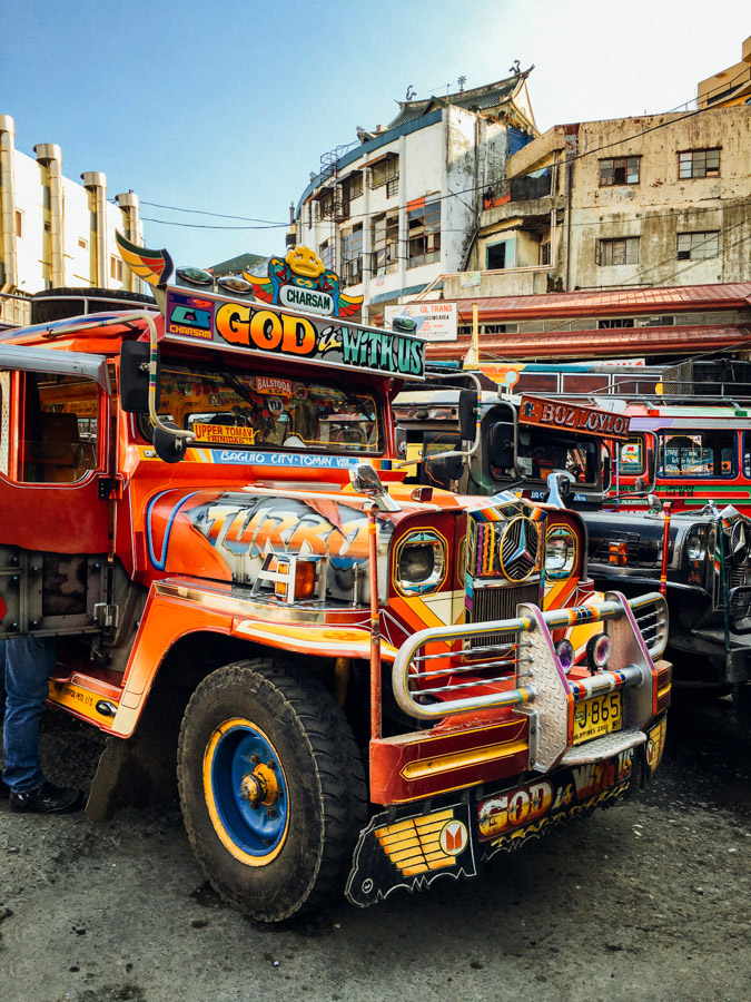 A jeepney at Baguio's Dangwa Bus Terminal.