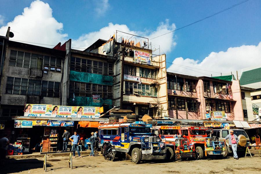 Decorative jeepneys Baguio's Dangwa Bus Terminal.
