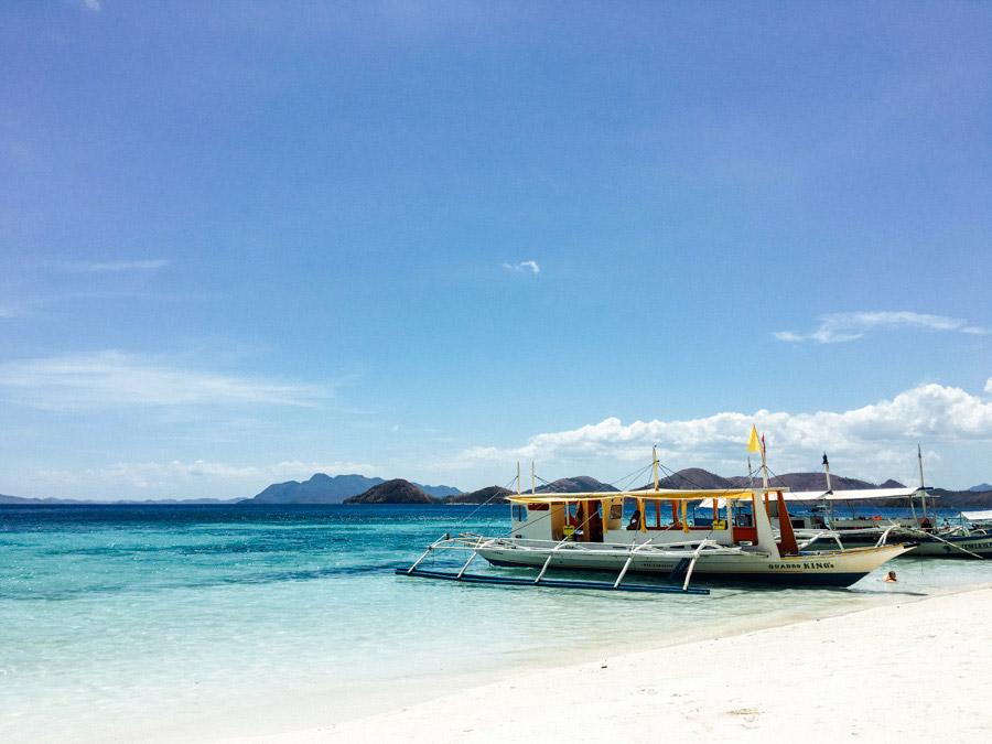 Bancas on Banol Beach, Coron, Palawan, Philippines.