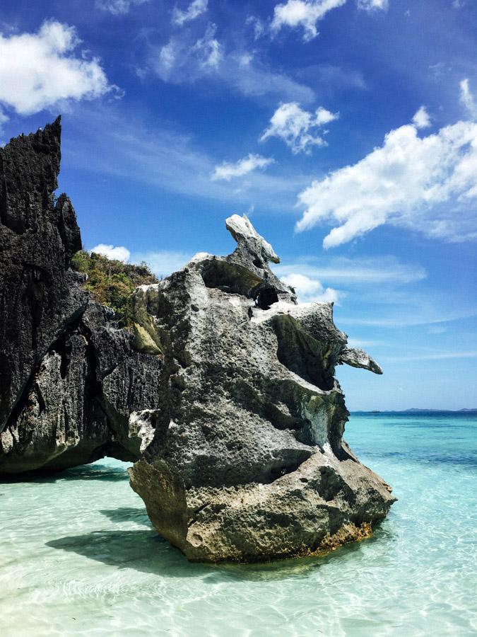 Limestone rock formations at Banol Beach, Coron, Palawan.