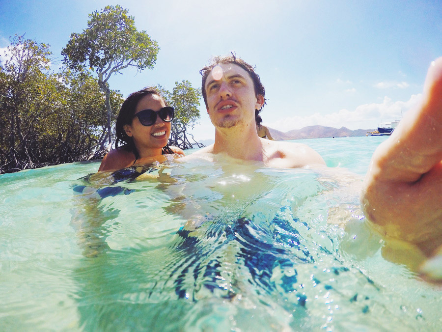 Getting the hang of the GoPro at CYC Beach, Coron, Palwan.