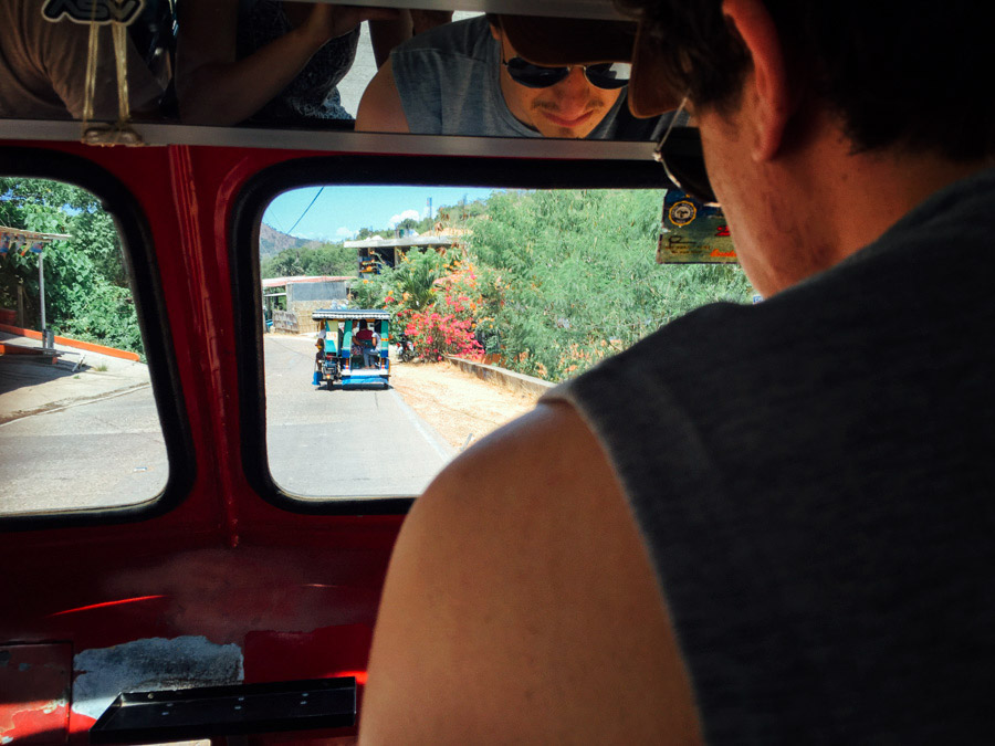 Heading to the town proper in a Coron-style tricycle. It seems that every region has their own style.