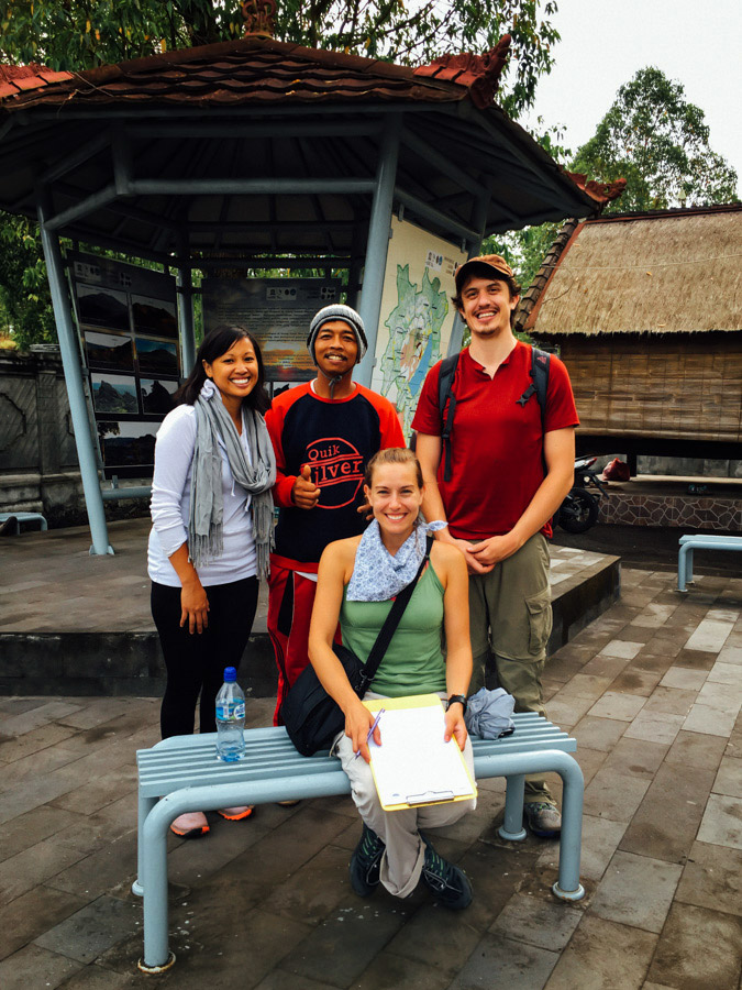 With our new friends: guide Nyoman and solo-traveler Becca from Seattle.