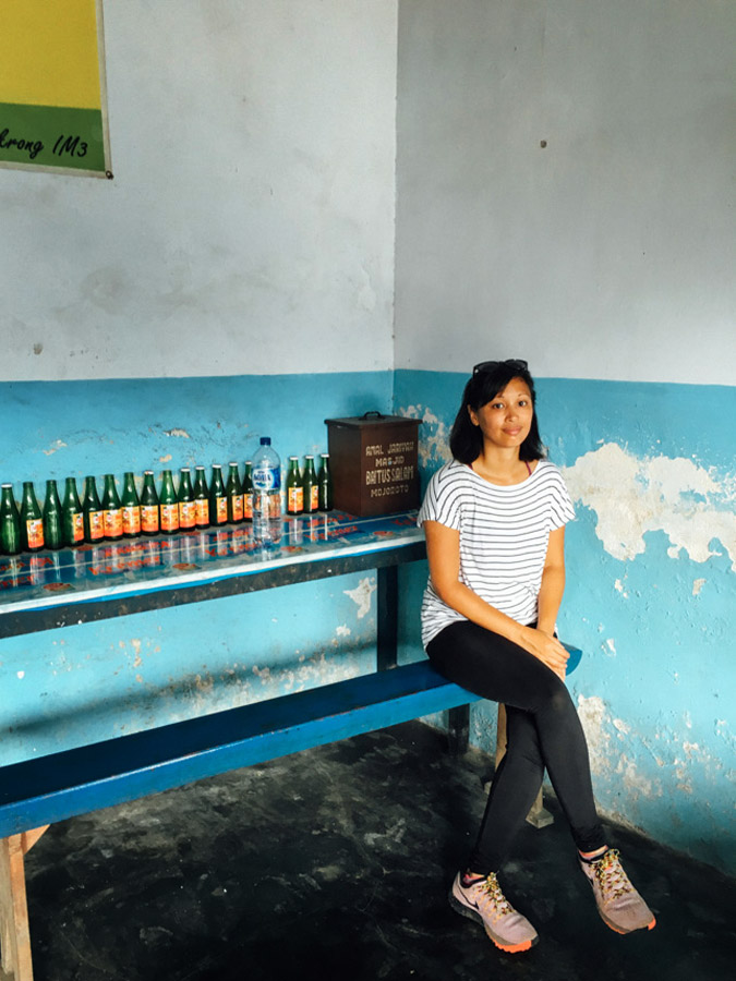 Inside a local warung, waiting for our watermelon juice.