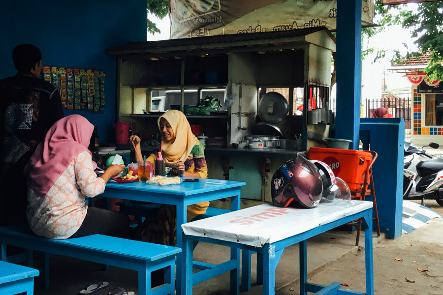 Local girls having lunch in Banyuwangi.
