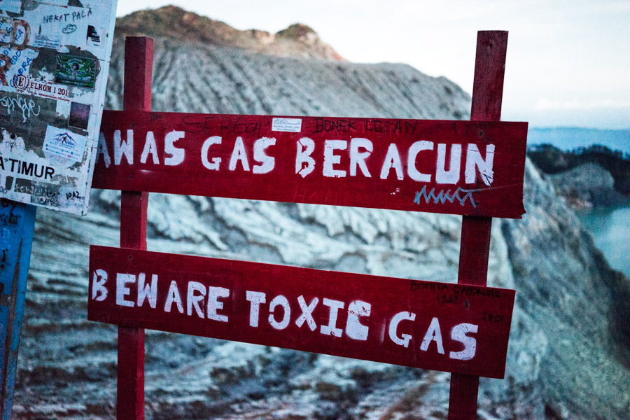 Beware of the toxic sulfuric gas at Kawah Ijen.