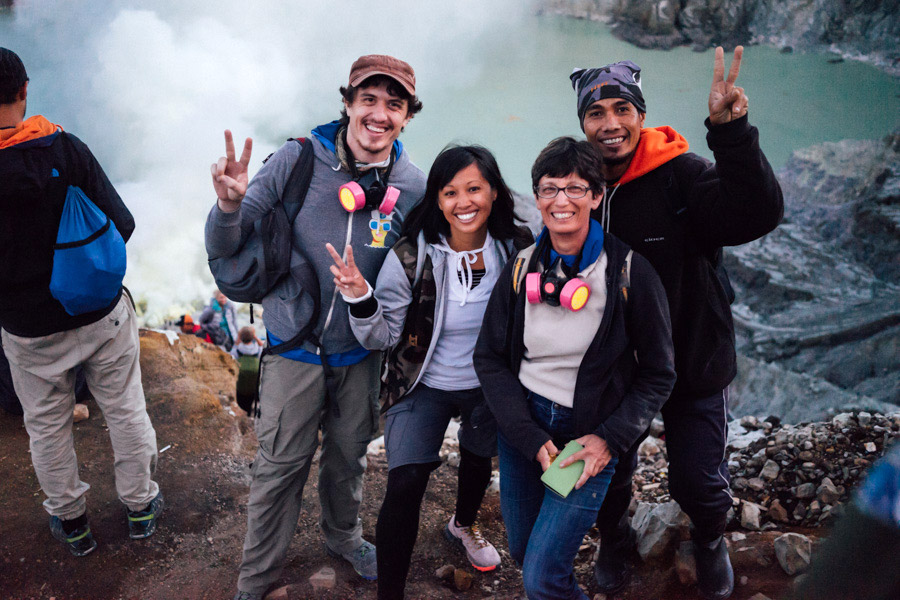 With our hiking mate Catherine and our guide Anto at the Kawah Ijen ridge.