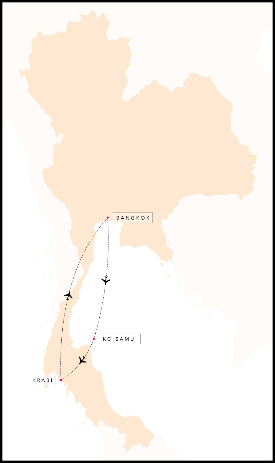 Alex & Madie's travel route in Thailand.
