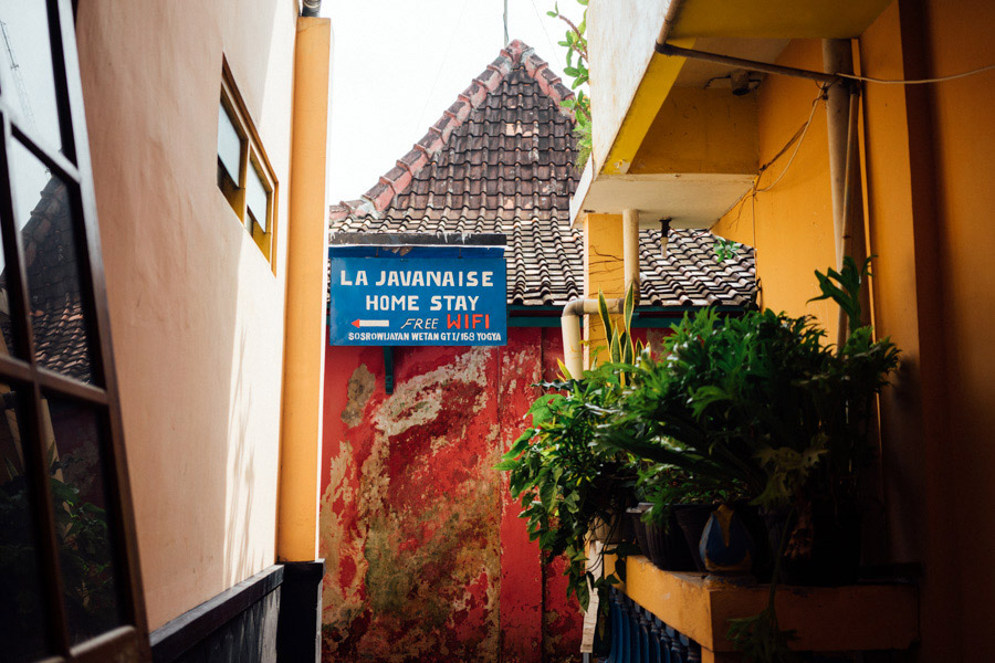 Candy colors cover the walls of the Sosrowijayan Kampong in Yogyakarta.