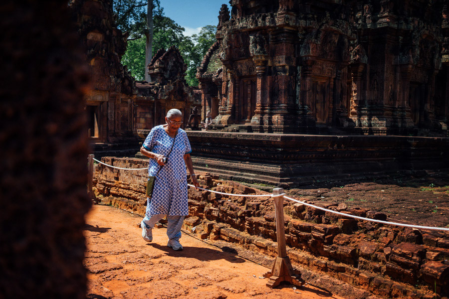 "Revered as the most beautiful temple in Angkor, Banteay Srei is the ""jewel of Khmer art."" It's constructed of red sandstone and is actually quite small, making the intricate, decorative carvings even that more impressive. Wish we had more time to examine the walls up close, but the summer heat was intense, even at 10am."