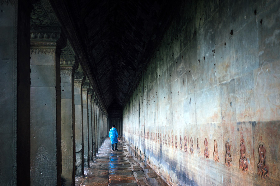 Rainy scenes from Angkor Wat, in Angkor, Cambodia.