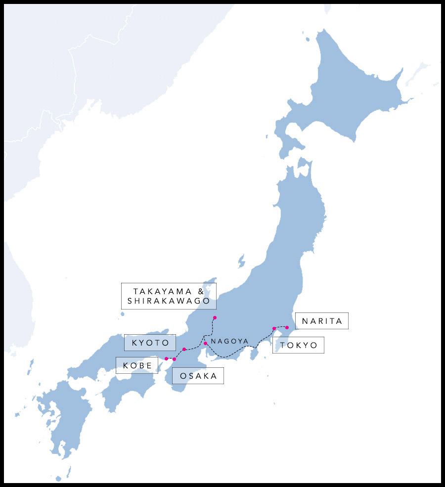 Alex & Madie's travel route in Japan.