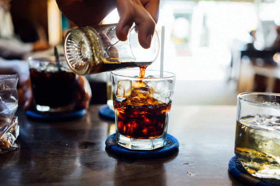 Vietnamese coffee over ice. We loved condensed milk in Indonesia, but here, drinking the coffee black is the way we enjoy it.