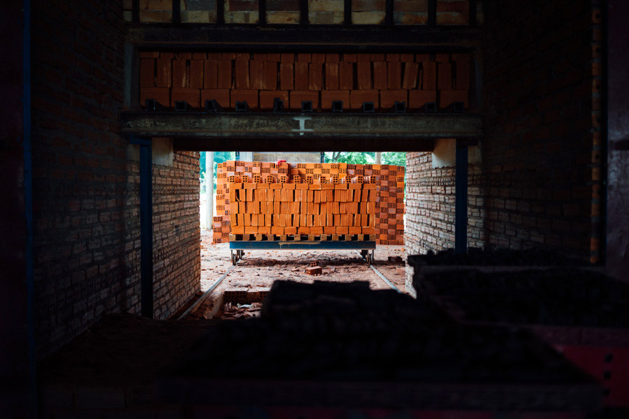 Pallets of freshly fired brick.