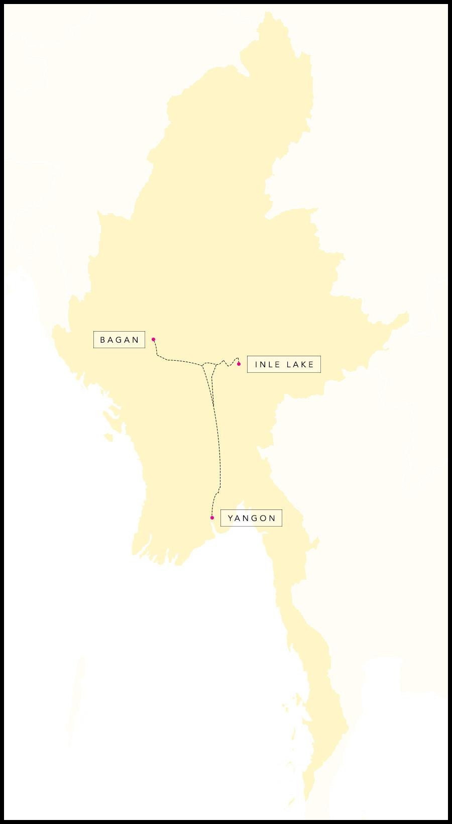 Alex & Madie's travel route in Myanmar.