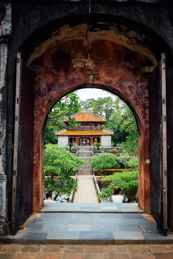 This temple was the last in a series of three gateways that leads to Minh Mang's burial site, which we could not access. The rest of the royal grounds is made up of lakes, bridges, obelisks, flower gardens, and pavilions, making it one of the most epic tombs we've been to.