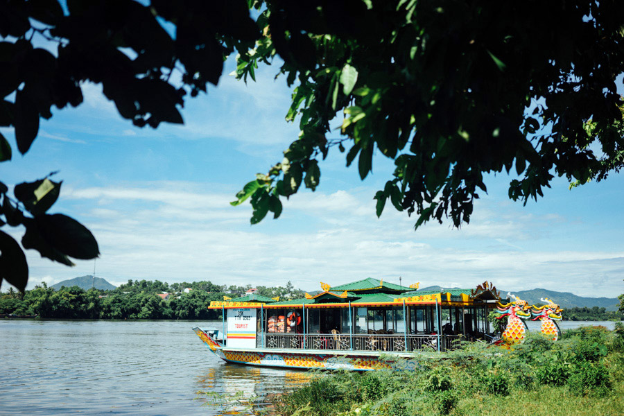 Our dragon boat on the Perfume River in Huế, Vietnam.