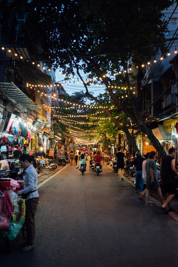 Hanoi at night... getting ready for the night markets.