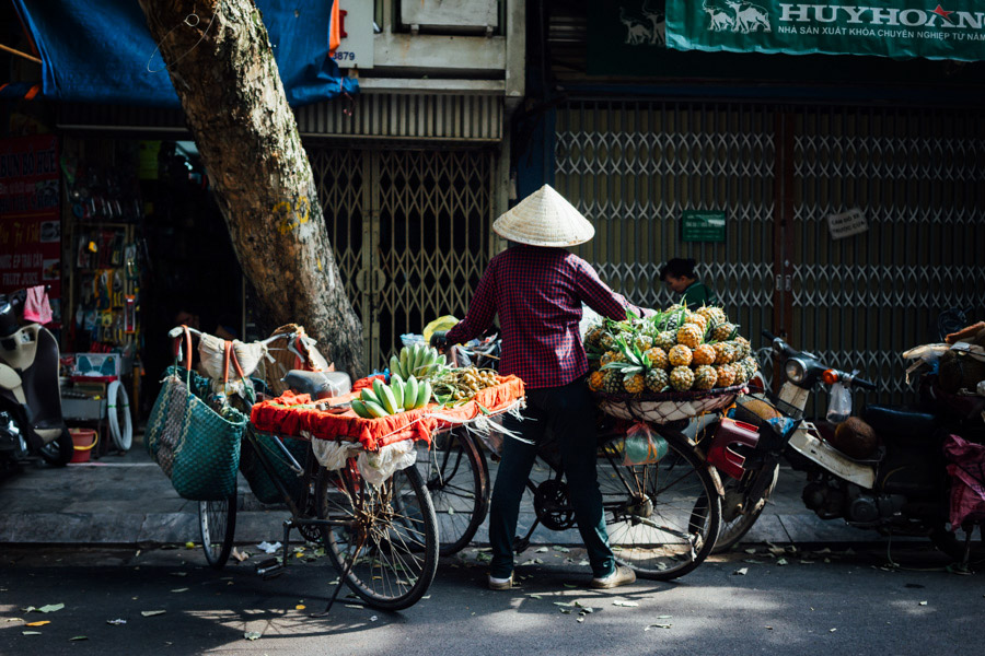 We learned at the Vietnamese Women's Museum that many street vendors, which are by a vast majority women, leave their families in the countryside to work in the city by selling fruits, vegetables, or flowers. These women often live in communes for $0.35 a night, and work all day until their goods are sold, which take up to 12-14 hours. Then they return home for only a few days every 10 days or so to spend time with their husbands and children. Makes me rethink all the times we bargain down to save a few cents.