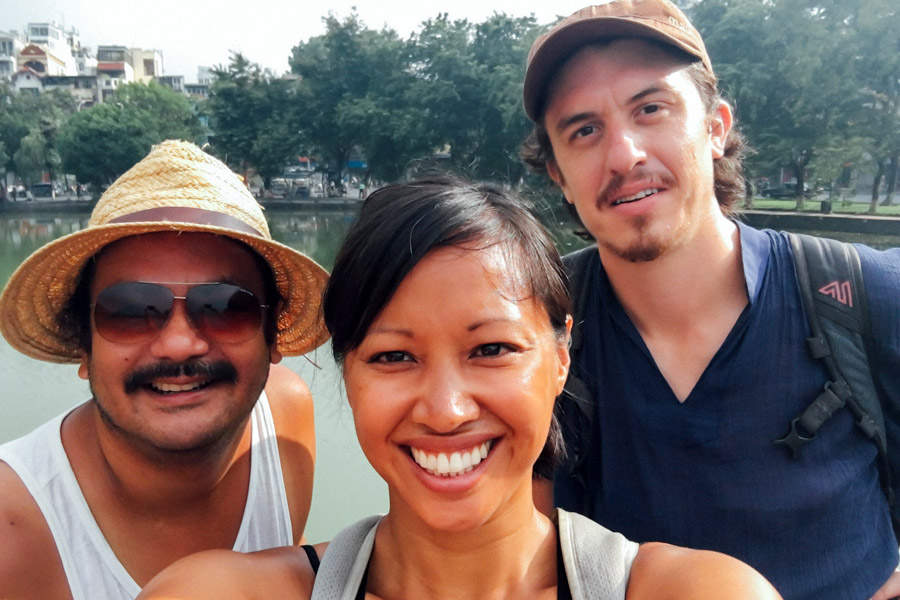 "Exploring Hanoi with our early morning ""glow"" after our sleeper train from Huế."