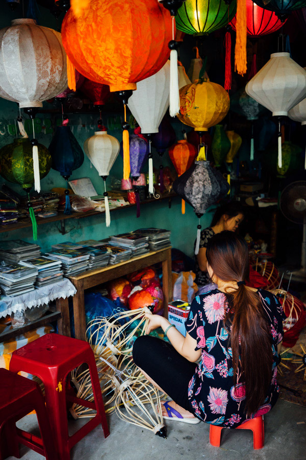 A lantern-maker hard at work. Hoi An is decorated with these beautiful handcrafted light ornaments, making for beautiful views at night.