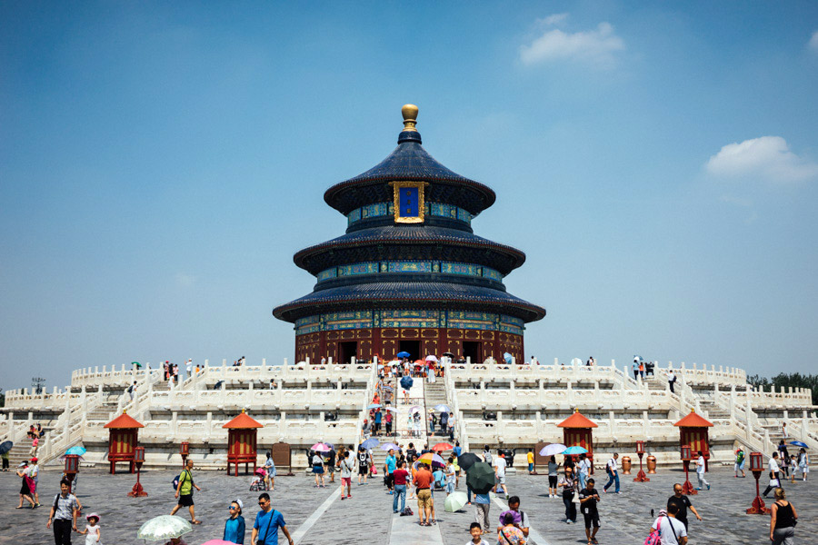 The main structure in the Temple of Heaven complex, and the oldest wooden edifice in China. The layout and architecture of the grounds symbolize the relationship between Heaven and Earth, with circles representing the former, and squares, the latter. And like throughout the country, the holy structure is decorated in bright reds and other vivid colors, including blue roof tiles, which again is a sign of Heaven.
