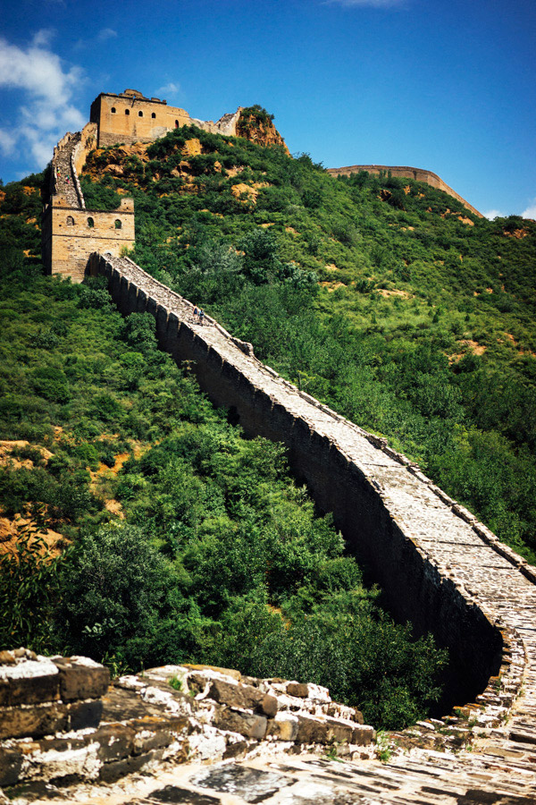 The steep stone steps of the Great Wall of China.