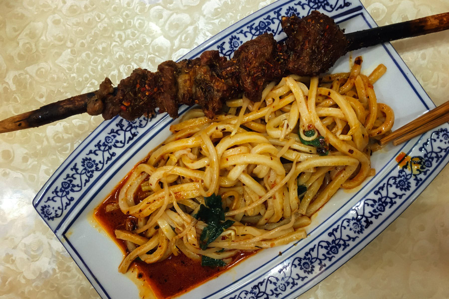 Spicy lamb skewers with spicy noodles!