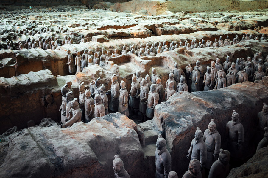 The famous Terracotta Warriors in Xi'an receives more than 2M visitors per year, albeit very few westerners. Currently 2,000 soldiers are unearthed and it is believed that another 4,000 lie underground - all created to protect Emperor Qin Shi Huang in the afterlife. It's crazy that they were discovered by local farmers only 40 years ago!