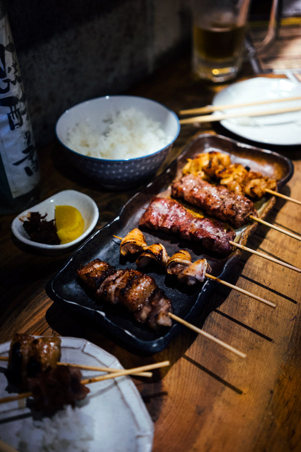 We went to an izakaya that specializes in pork yakitori. With no parts going to waste, we tried everything: Neck, tongue, stomach, cheek, rectum, belly, heart, windpipe, intestines, and skirt. Some of the best grilled skewers we've ever had