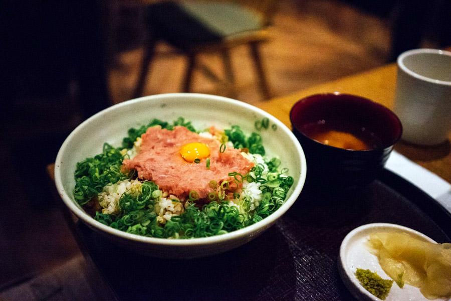 A tasty minced fish rice bowl.