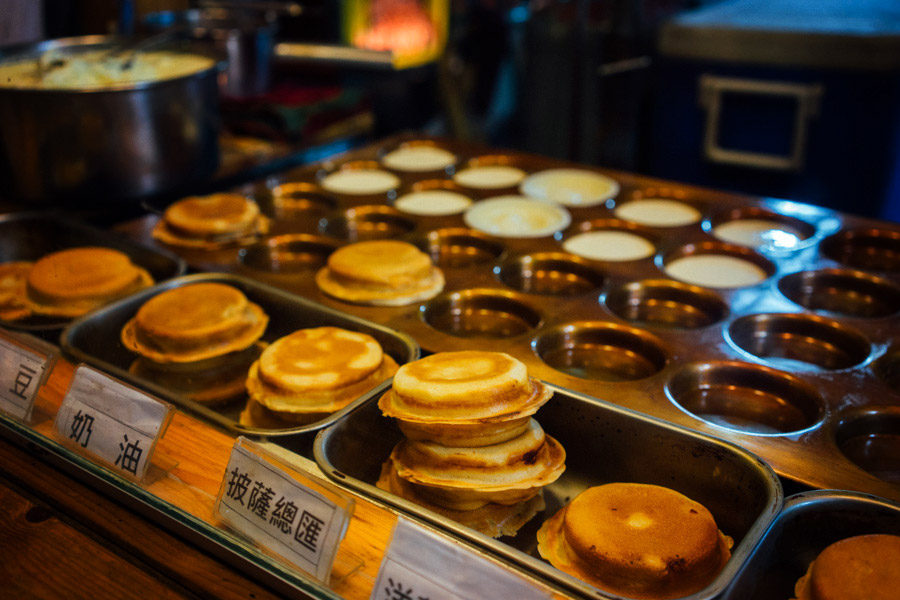 Raohe Street night market - chocolate and custard filled pancakes