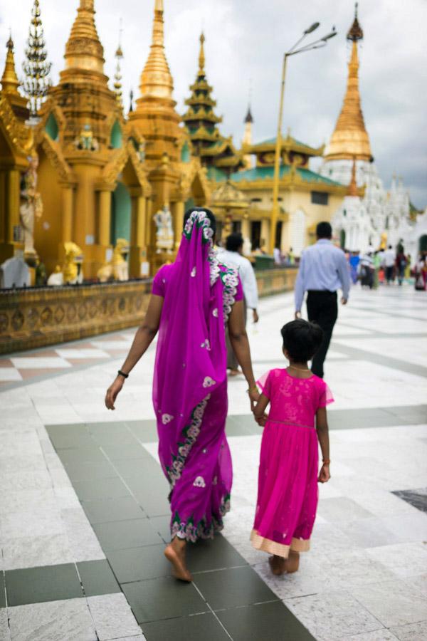 Colorful visitors at the pagoda.