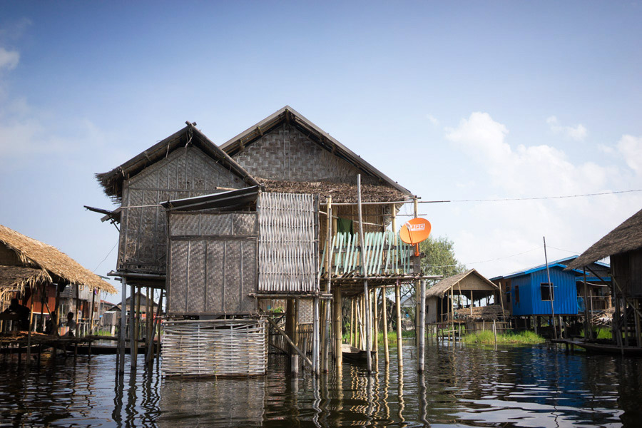 Inle Lake is unlike any place we've seen before, where townships are built entirely on the water - modest homes on stilts, hydroponic vegetable gardens, boats as modes of transportation, and gridded waterways. Oh yes, and satellite tv.