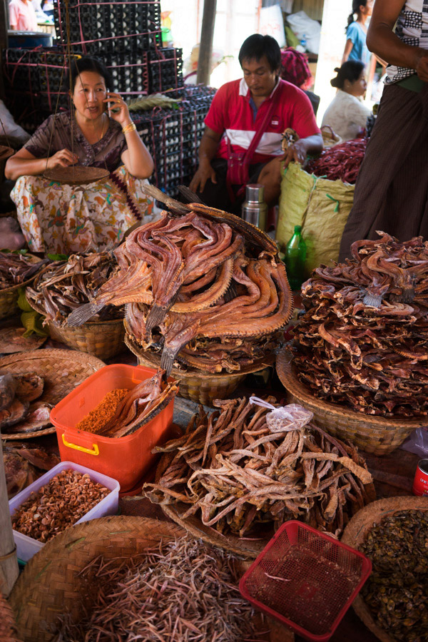 One of two big freshwater lakes in Myanmar, Inle is an enormous source of fish, eaten any which way. This was the largest dried fish stall at the market, its scent could be smelled from meters away.