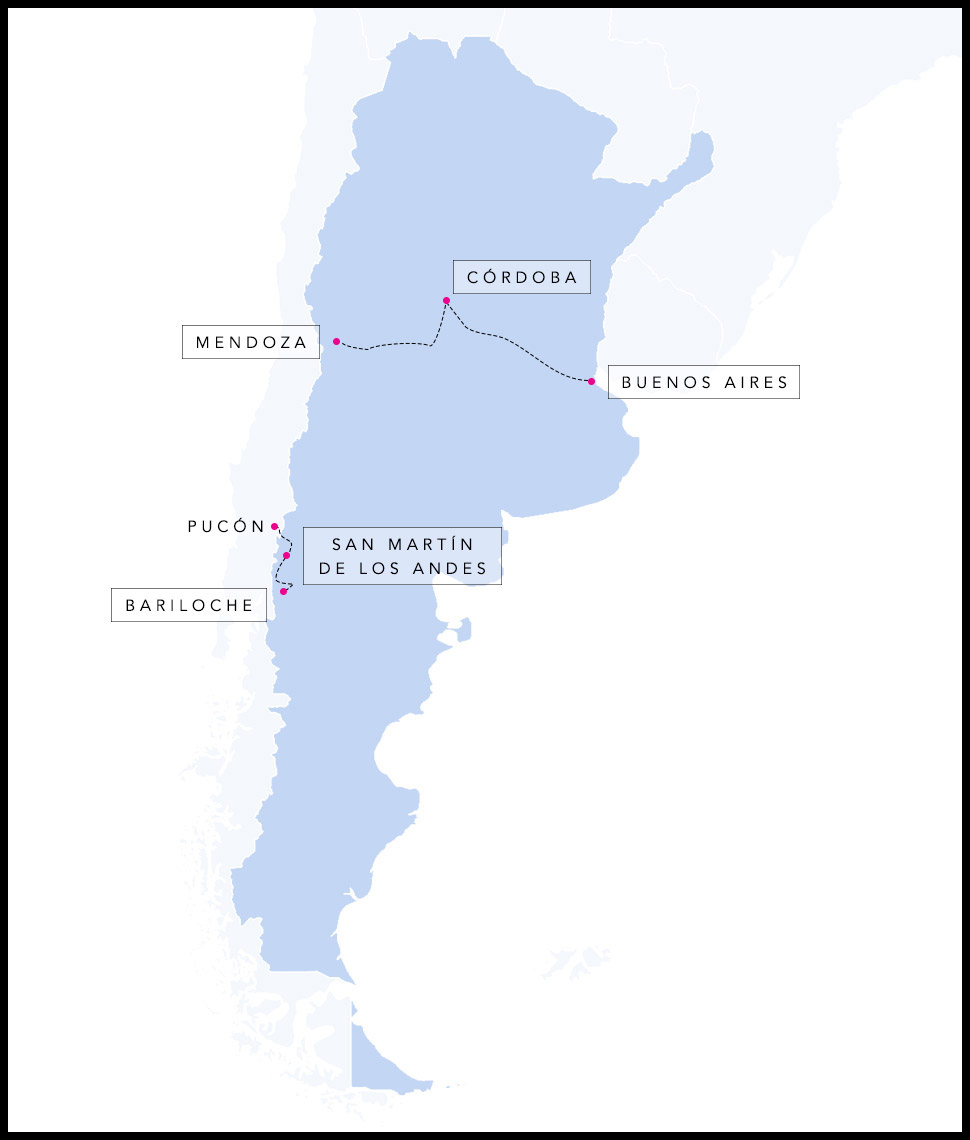 Alex & Madie's travel route in Argentina.