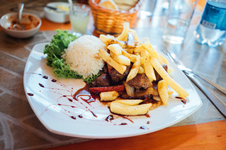 When there's lomo saltado on the menu, we order it! (Even when we're not in Peru!!)