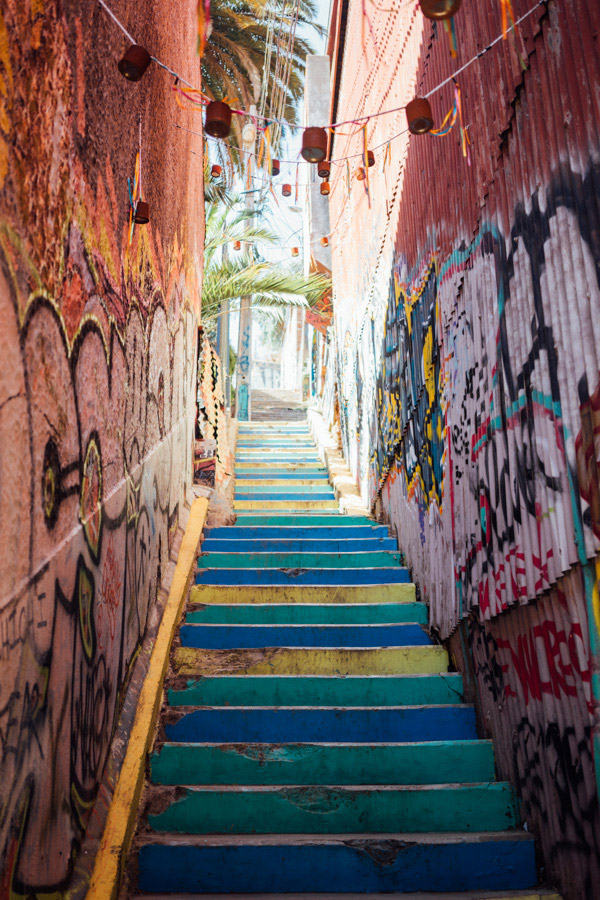 If you don't want to take a funicular up the hills of Valparaiso, you'll either zigzag your way up the streets or climb colorful stairwells like this. Sure it's gritty, but that's part of the charm.