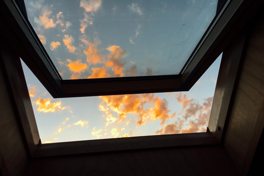 Skylight sunset at hostel  French Andes .
