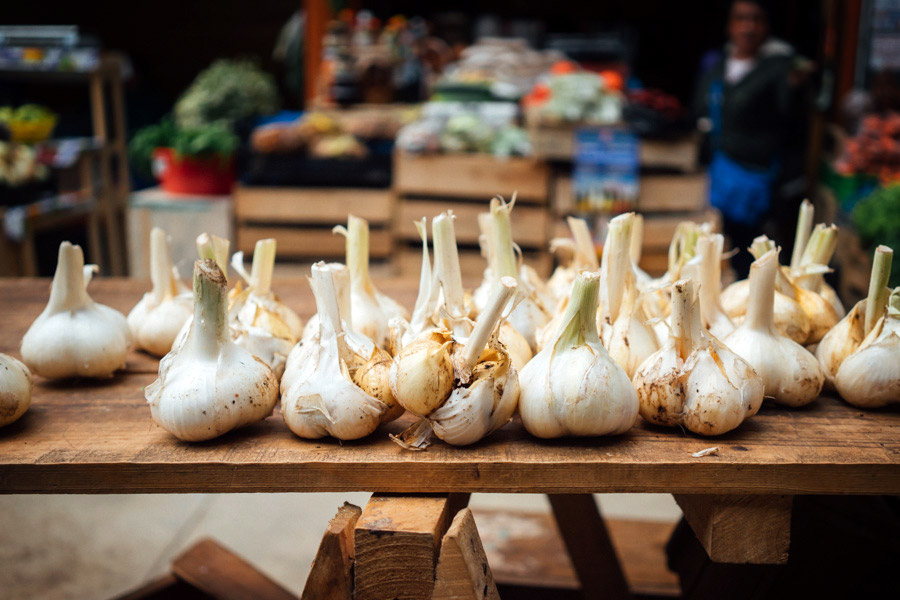 Giant garlic at the farmers market.