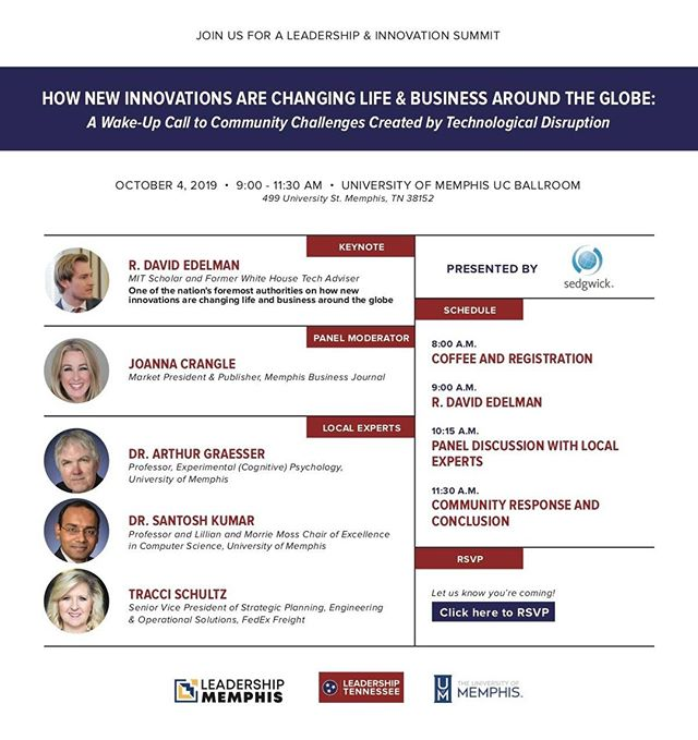 We are looking forward to being back in Memphis next week for a conversation on how our communities relate to the technology of the future. Have you registered yet? https://memphis.universitytickets.com/w/event.aspx?id=1388&p=1