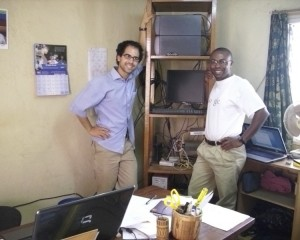Alex with Cameroonian network admin Frans Barah.
