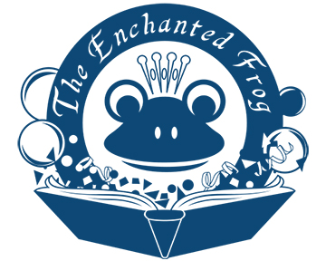 The Enchanted Frog logo - blueclock dark blue 5x4.jpg