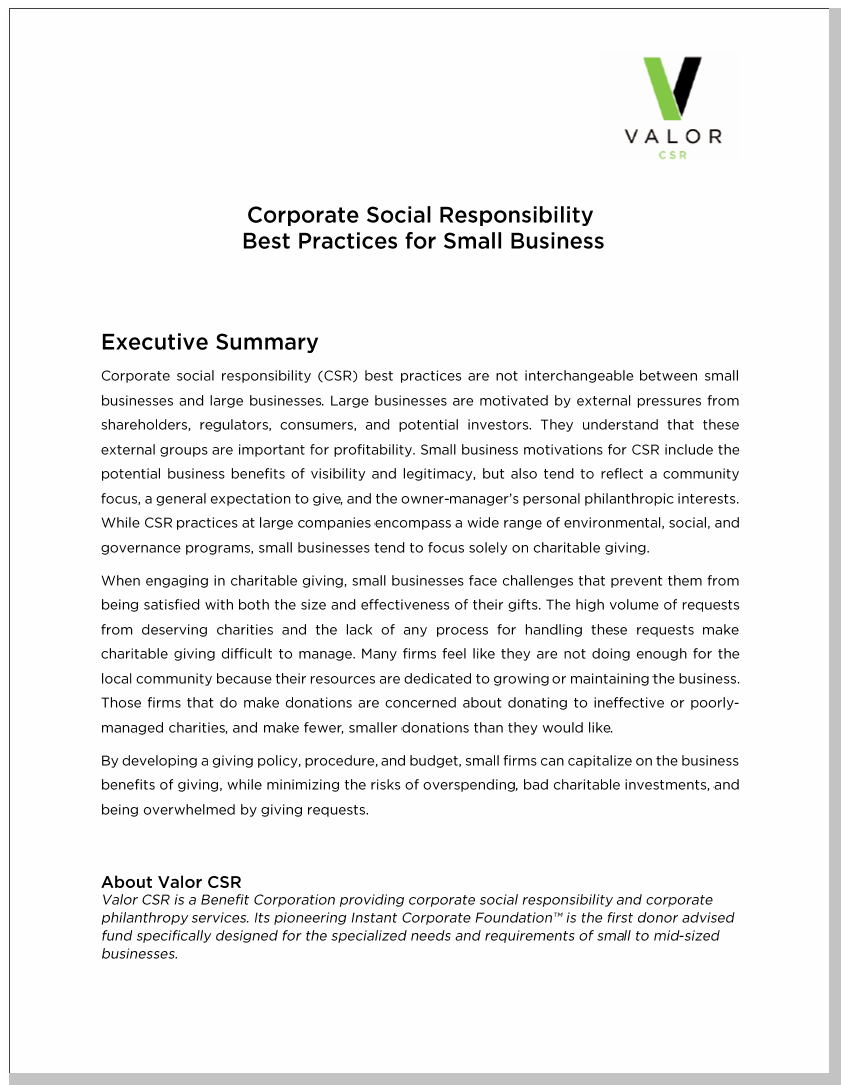Corporate Social Responsibility Best Practices for Small Business