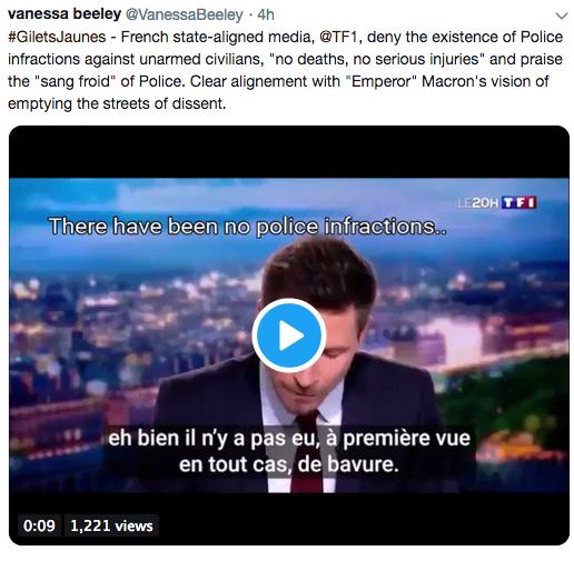 Osrednji francoski medij zmanjšuje resnost poškodb protestnikov.