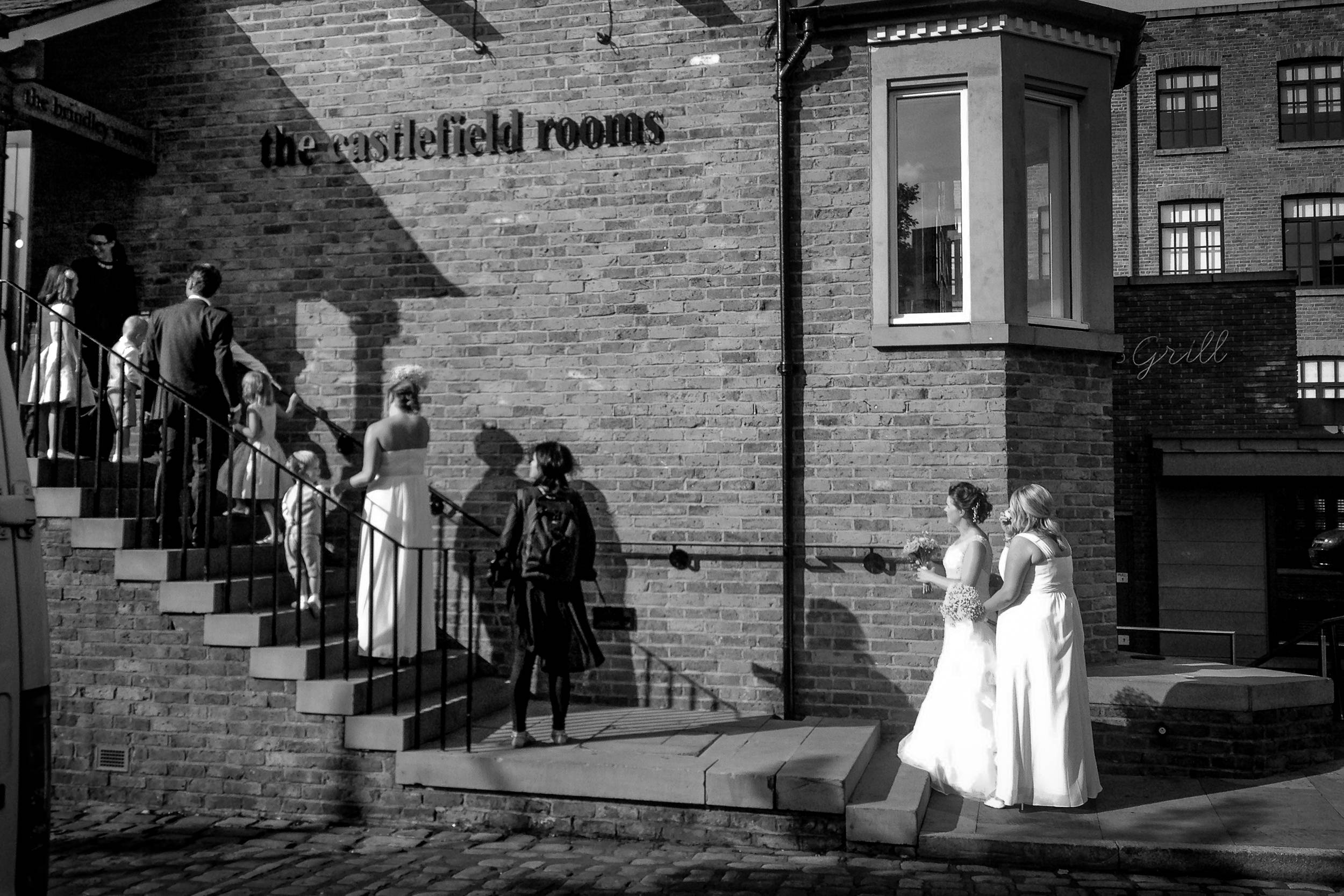 Erin about to get married at The Castlefield Rooms.